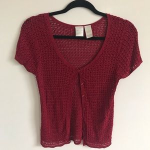 Red See-Through Short Sleeve Sweater